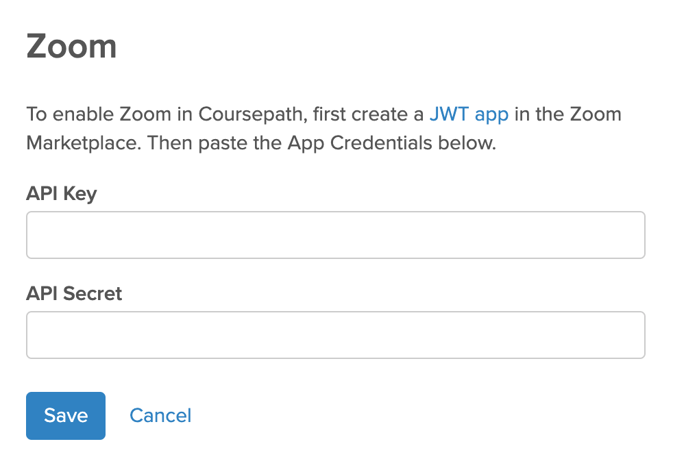Zoom Integration in Coursepath